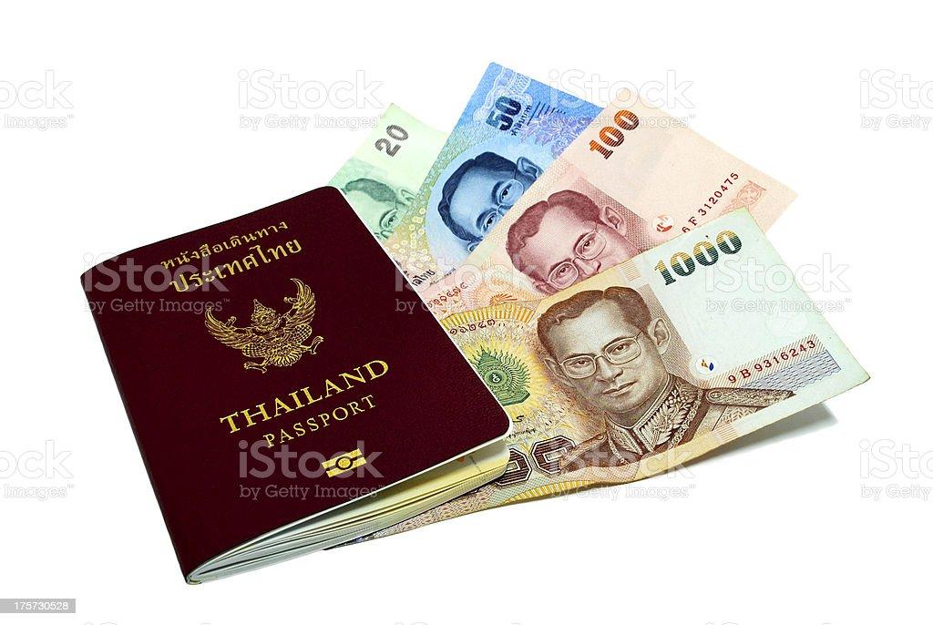 Thailand passport and Thai money royalty-free stock photo