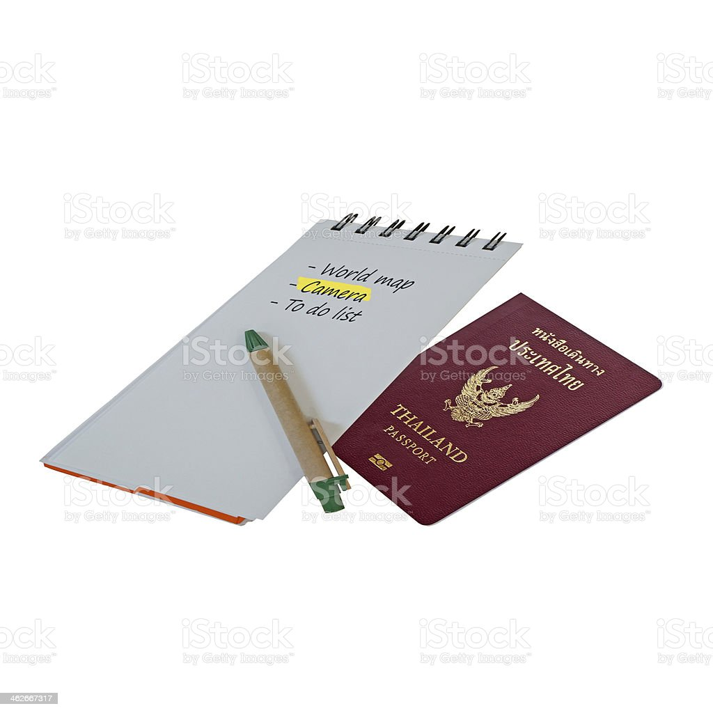Thailand passport with list down on notebook (travel concept) stock photo