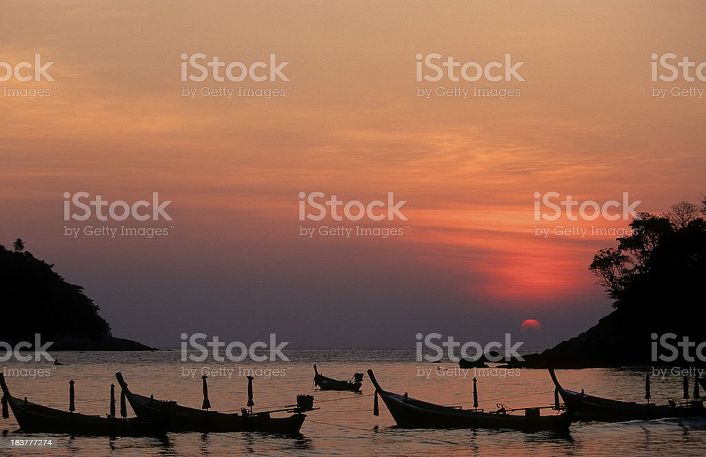 Thailand, Phuket, Kata Beach, sunset. stock photo