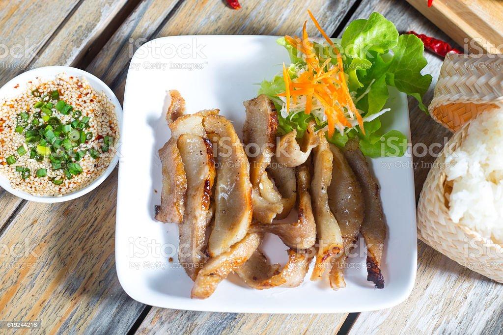 Thailand pork roast and sauce recipe. stock photo