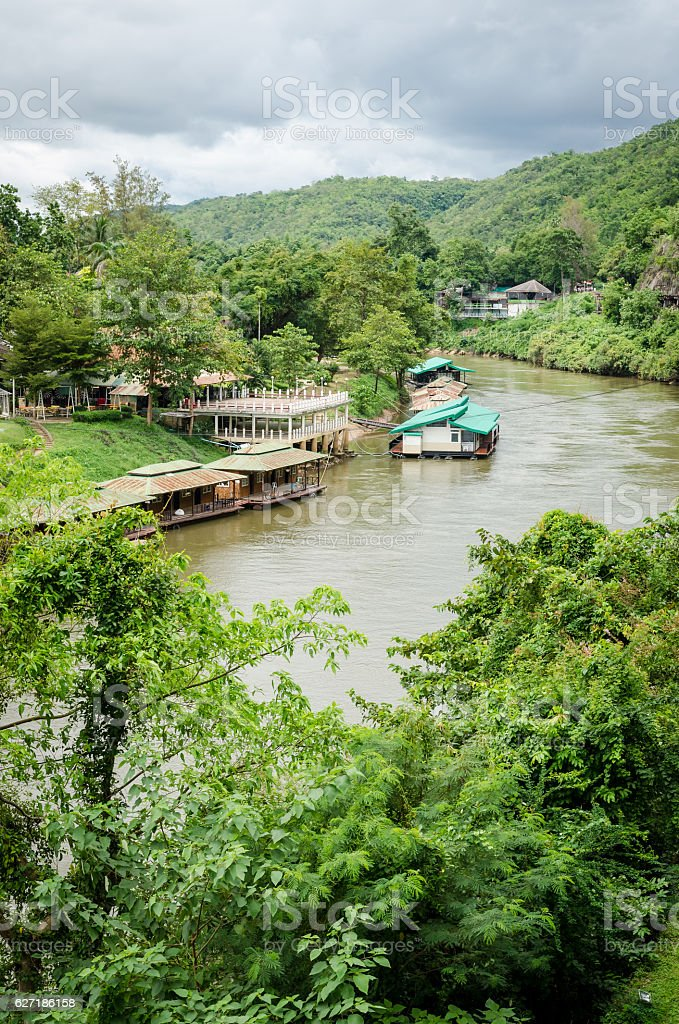 Thailand scenic view on River Kwai and landscape stock photo