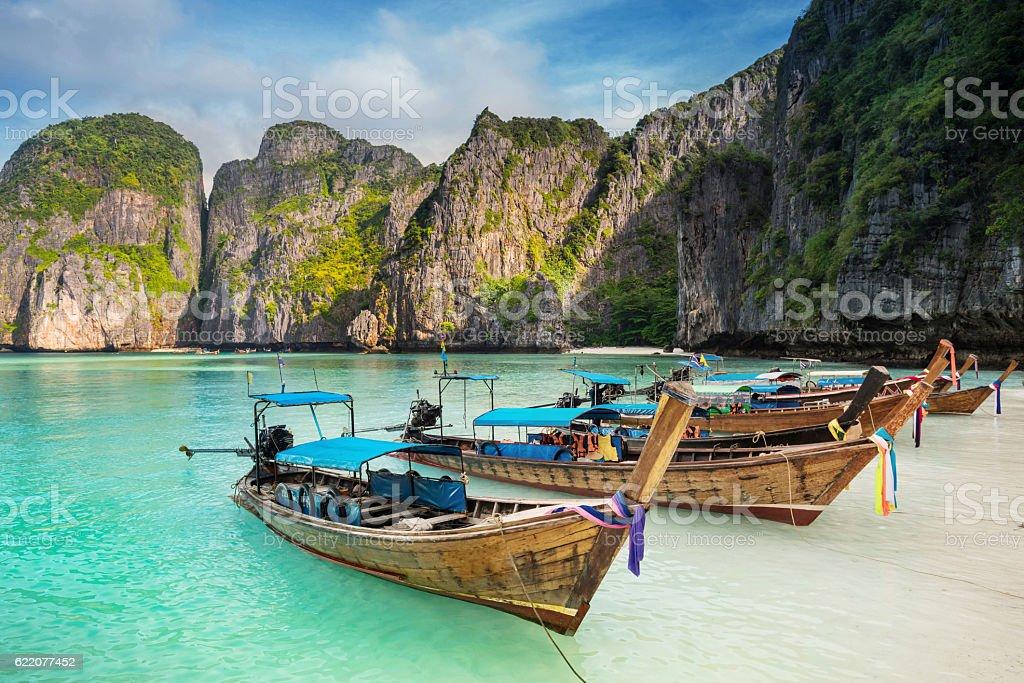 Thailand sea beach view round with steep limestone hills stock photo