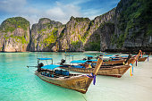 Thailand sea beach view round with steep limestone hills