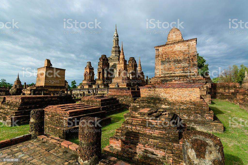 Thailand Sukhothai history building in Sukhothai historical park stock photo