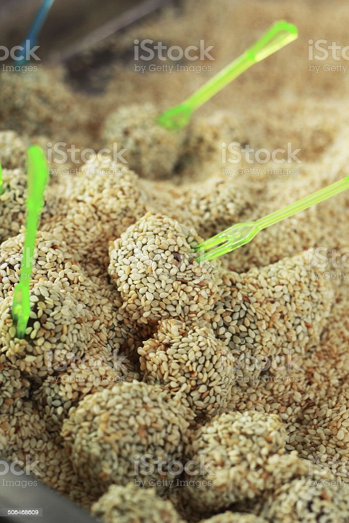 Thailand sweets - boiled sweets put sesame. stock photo