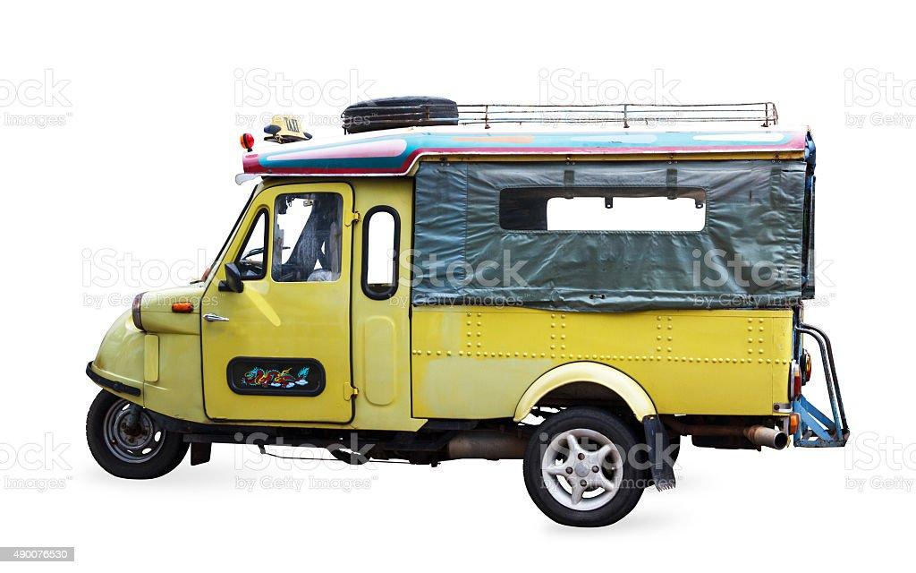 Thailand symbol tourist taxi vehicle car tuk tuk isolated stock photo