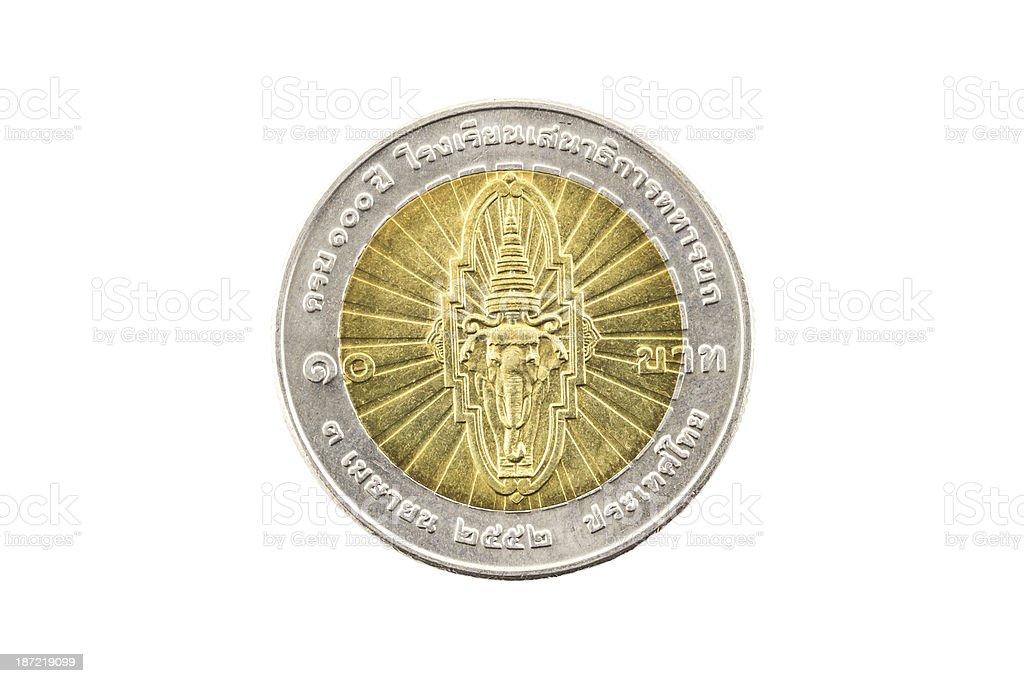 Thailand Ten Baht Coin royalty-free stock photo
