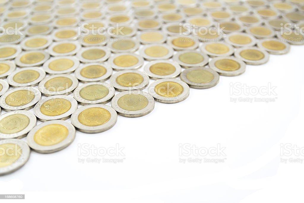 Thailand ten baht coins stock photo