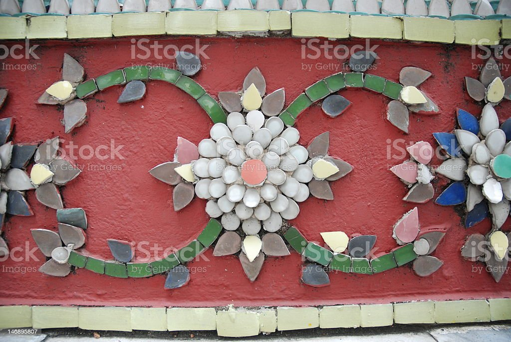 Thailand Tiled Mosaic Close-Up royalty-free stock photo