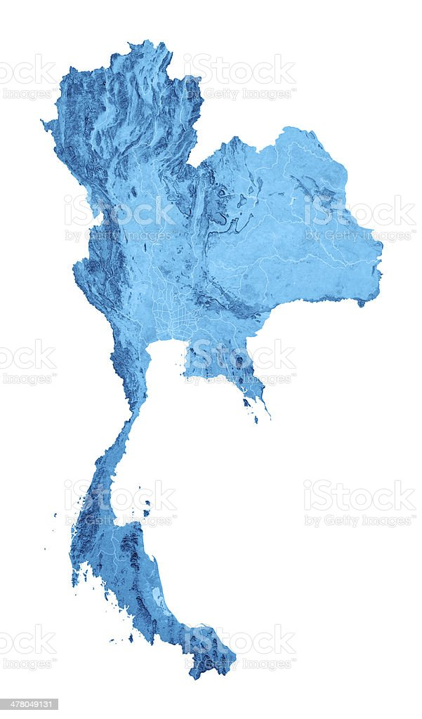 Thailand Topographic Map Isolated stock photo