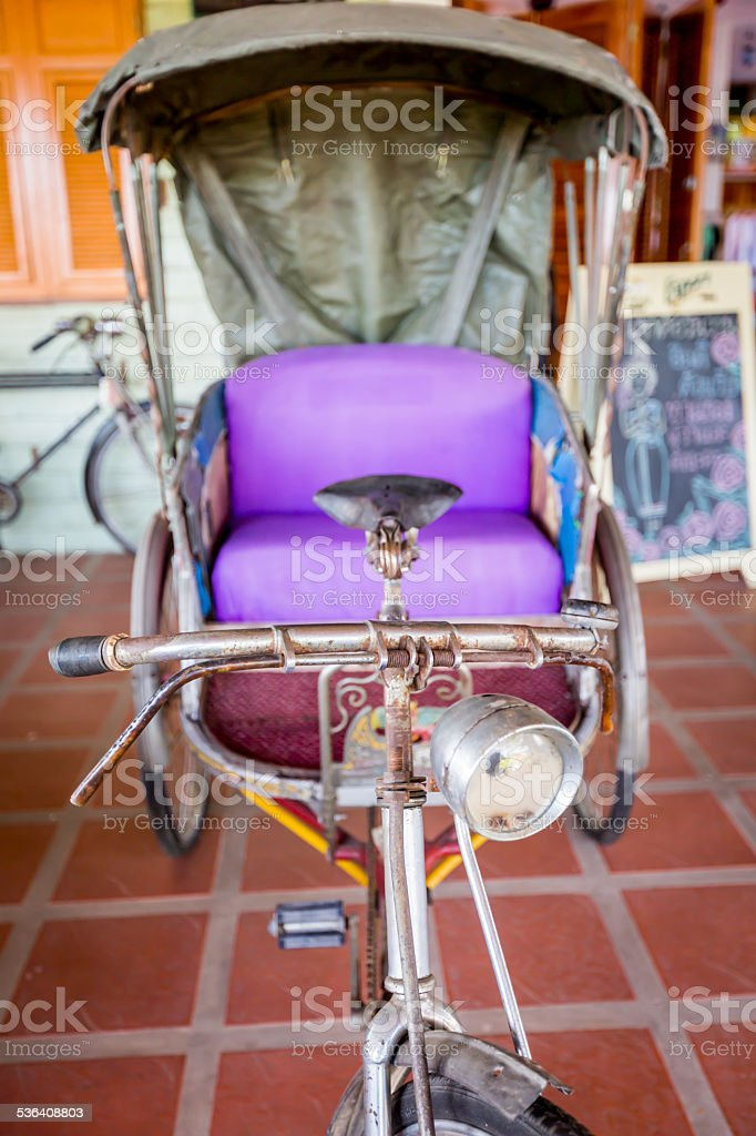 Thailand tricycle, Thai old style transportation. stock photo