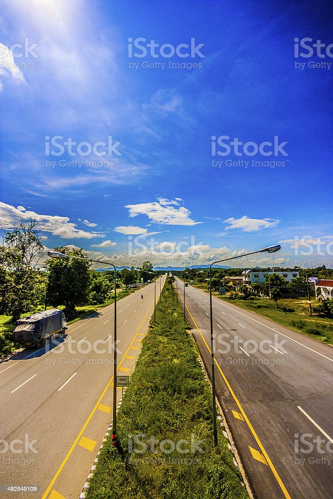 Thailand two lanes road royalty-free stock photo