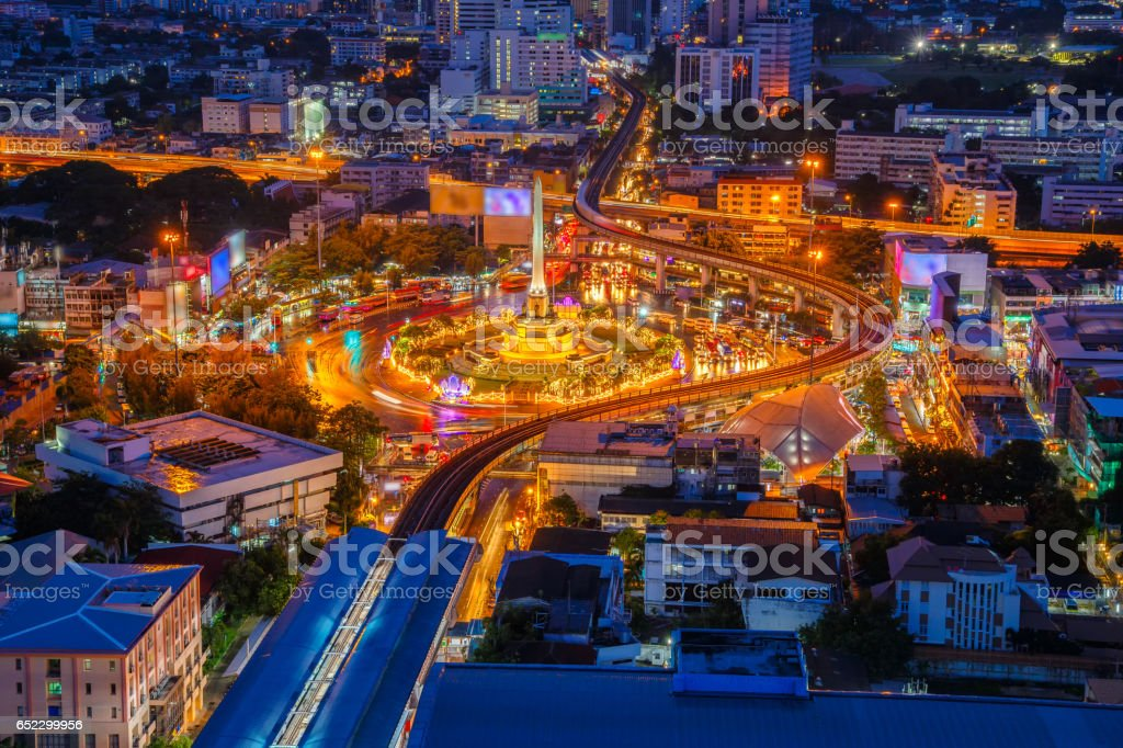 Thailand victory monument and main traffic for road in Bangkok, Thailand stock photo
