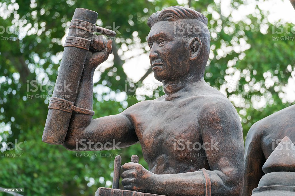 Thailand Warrior statue in temple bangkung stock photo