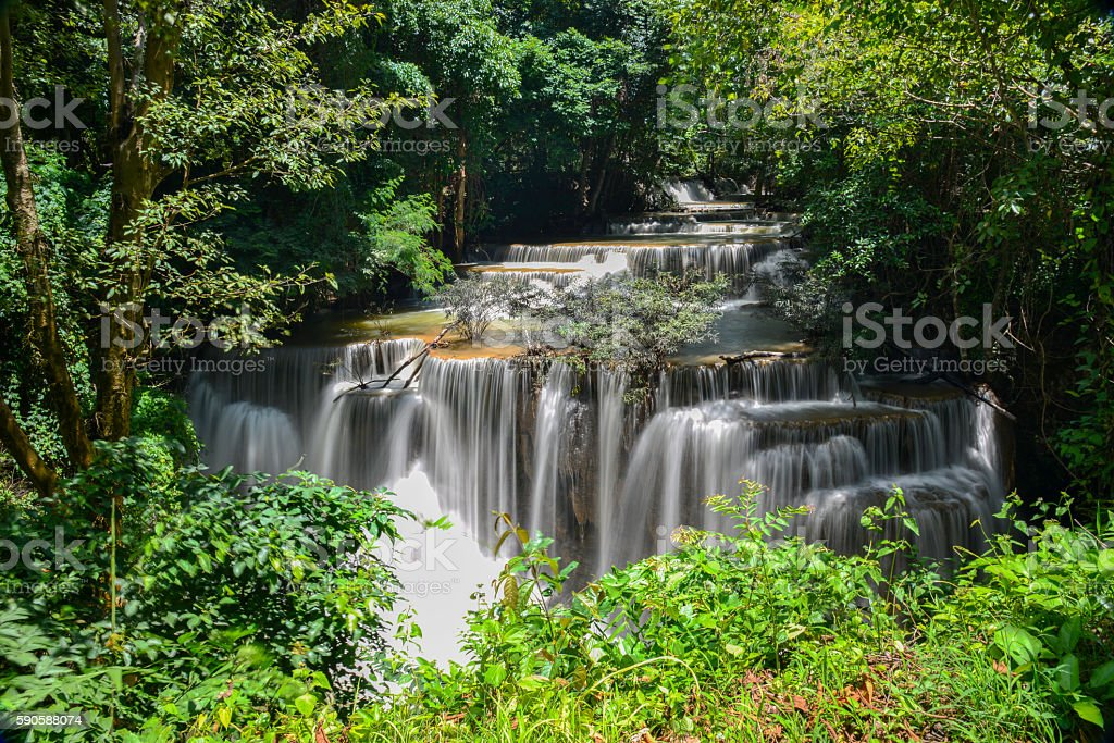 Thailand waterfall in Kanchanaburi royalty-free stock photo