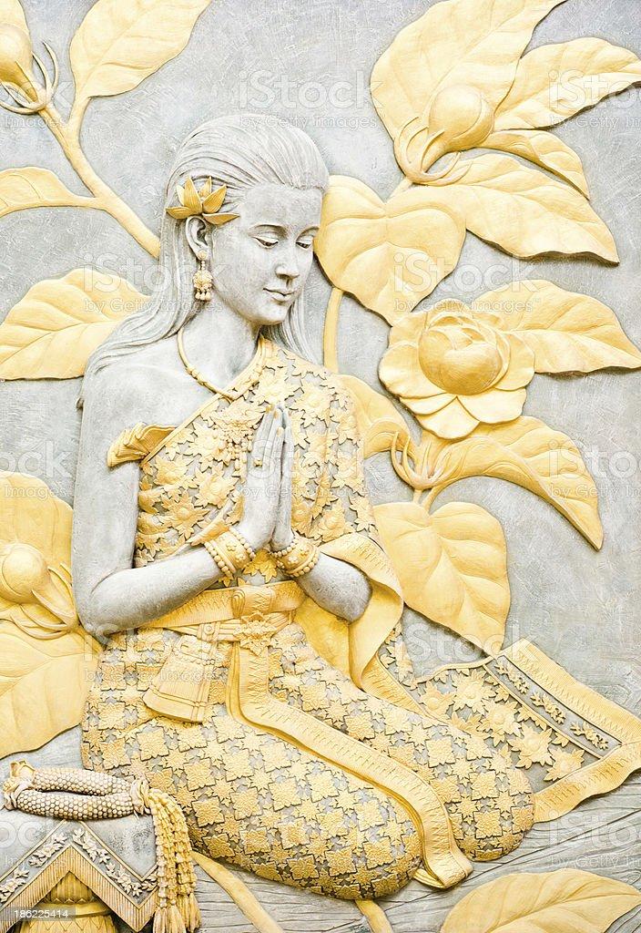 thailand women mural stock photo