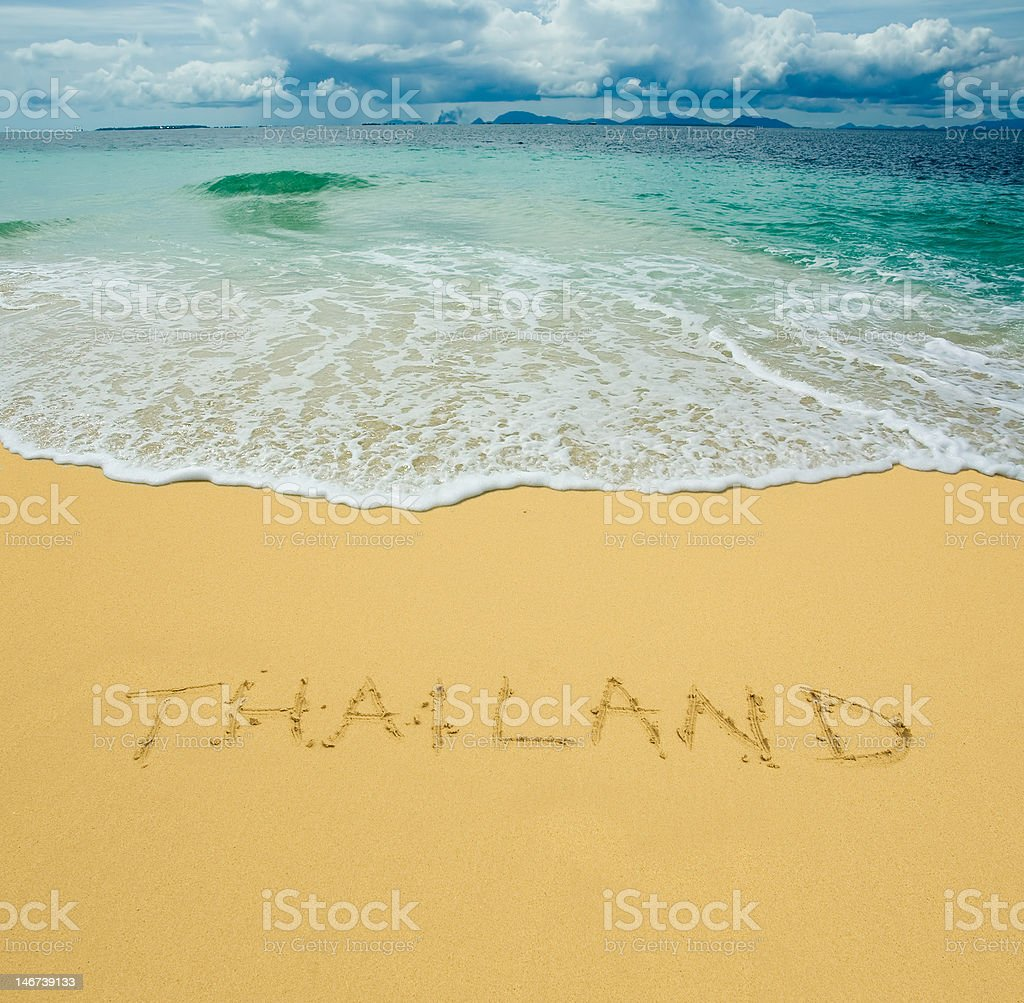 thailand written in a sandy tropical beach royalty-free stock photo