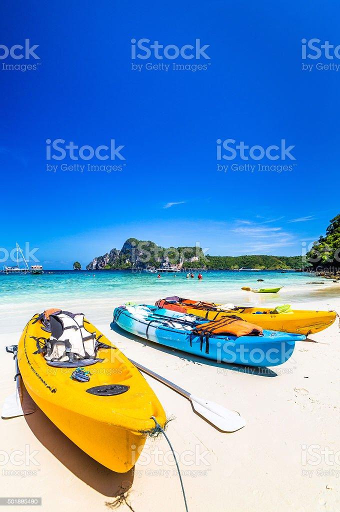 Thailand,Phiphi island,single kayak on the beach stock photo