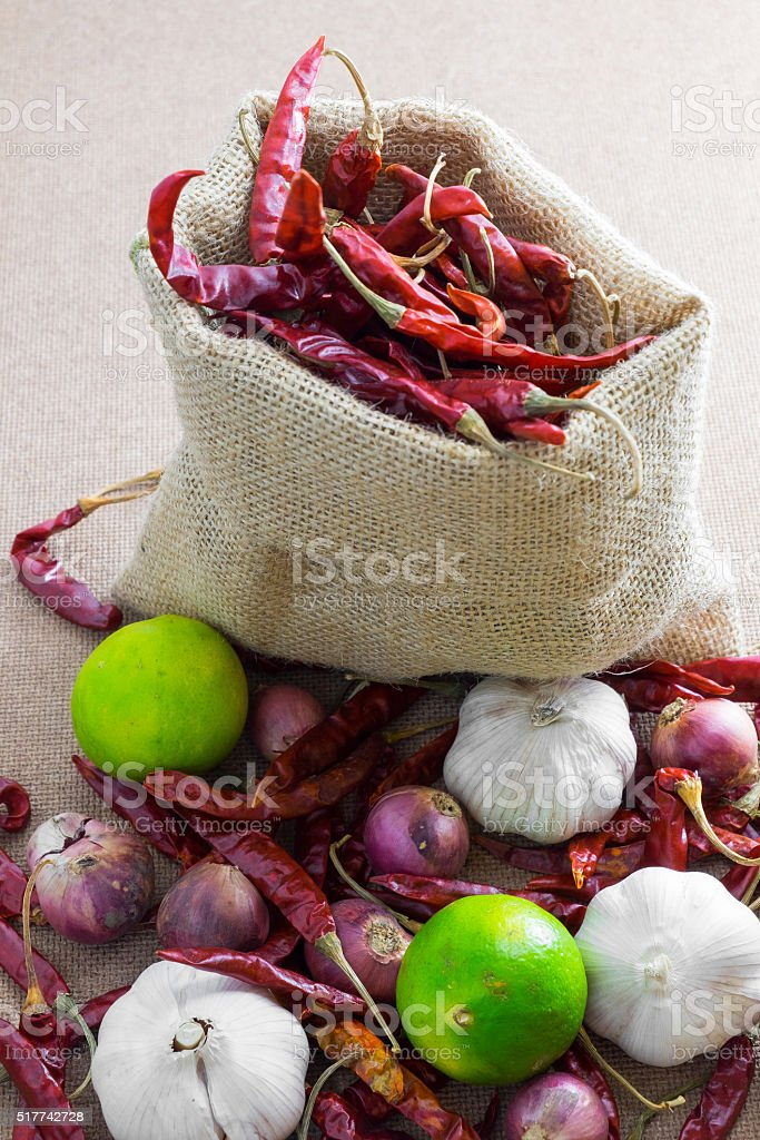 Thai's Food Ingredients (dried chilli,lemon, garlic ,shallot) stock photo