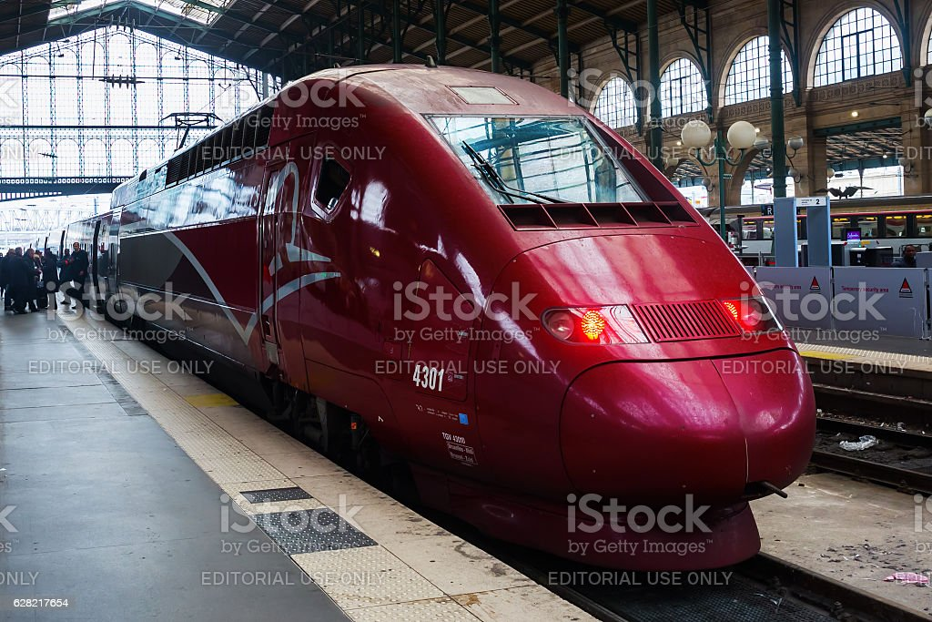 Thalys train at Gare du Nord in Paris stock photo