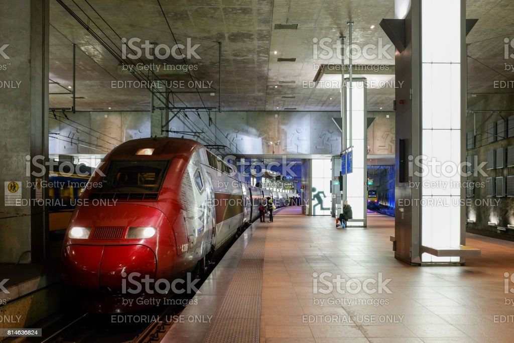 Thalys train inside the Antwerp central train station stock photo