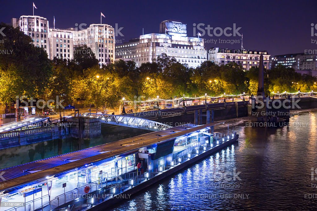 Thames and Victoria Embankment London stock photo