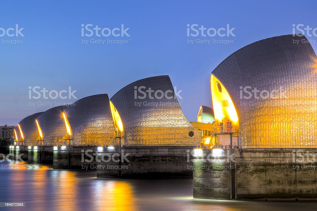 Thames Barrier And Canary Wharf, London UK stock photo