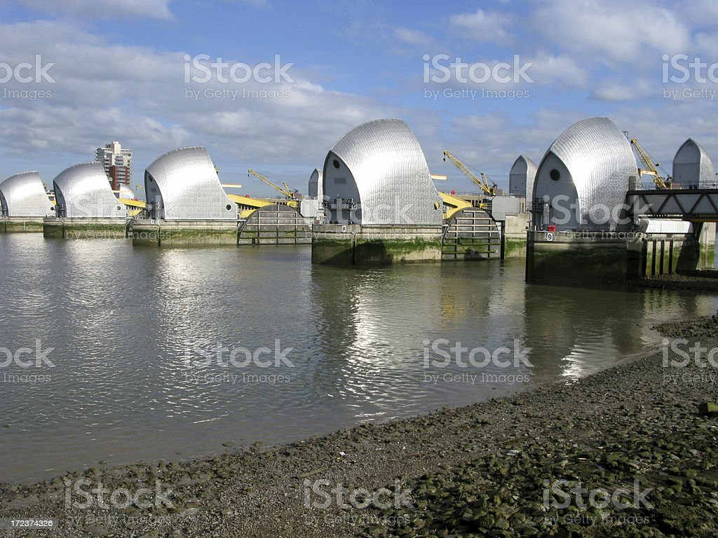 Thames Barrier from the river royalty-free stock photo