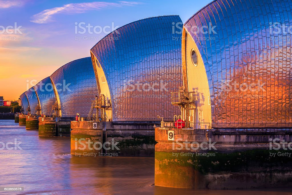Thames Barrier in London stock photo