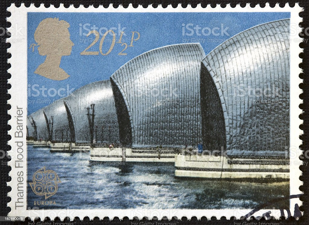 Thames Barrier Stamp 1983 stock photo
