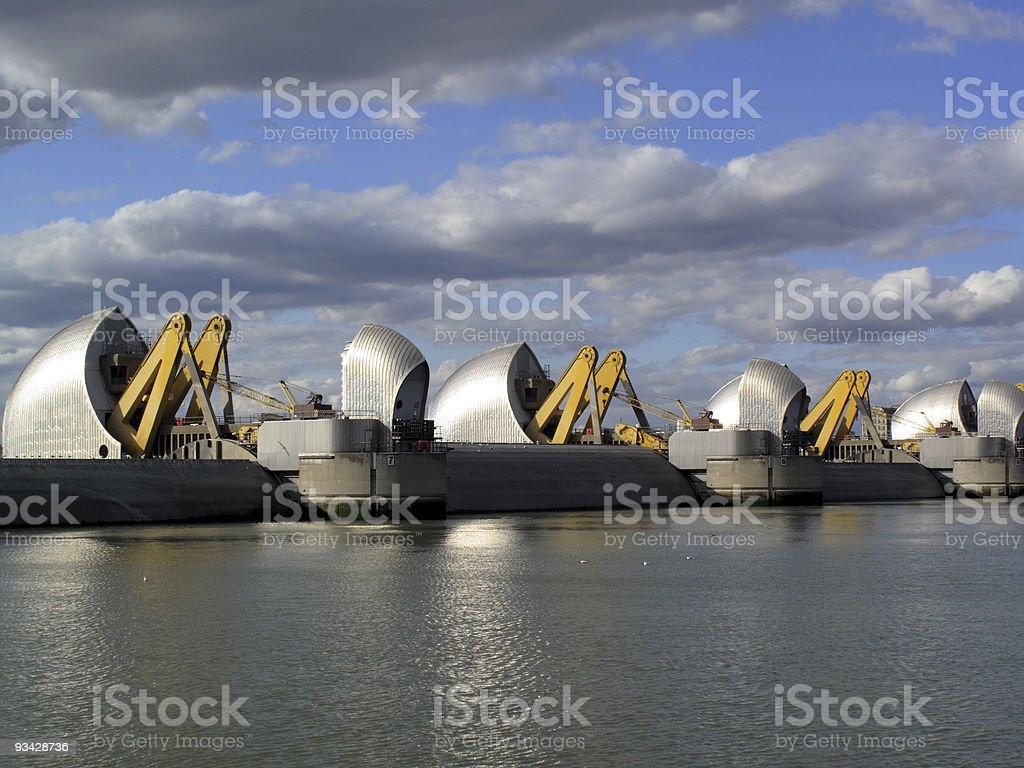 Thames Barrier With Flood Gates Closed royalty-free stock photo