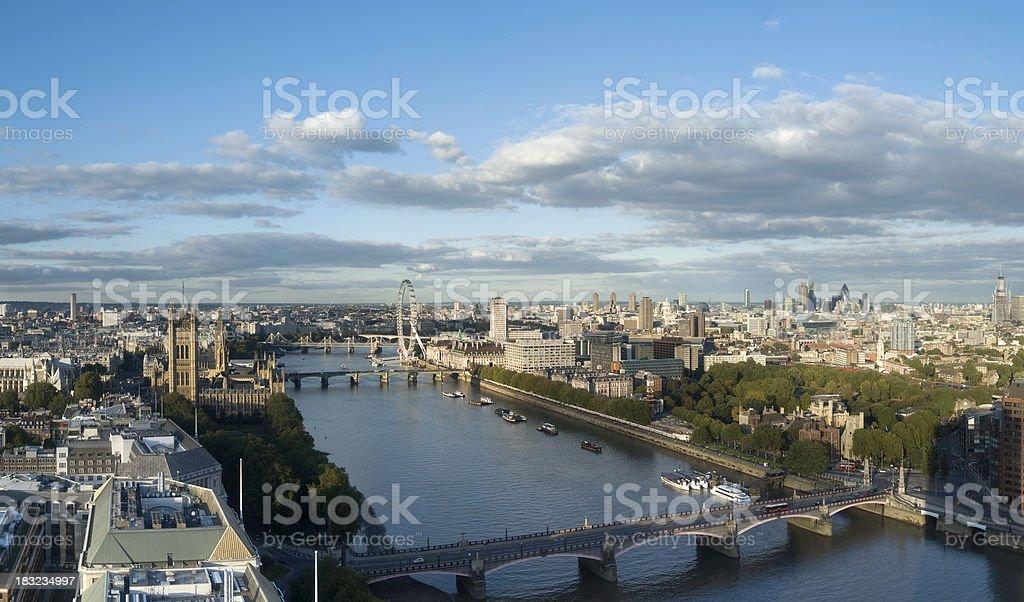Thames evening panorama stock photo