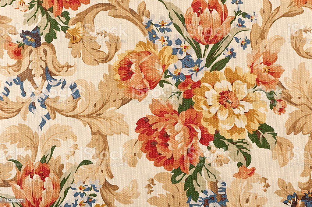 Thames Floral Close Up Antique Fabric stock photo