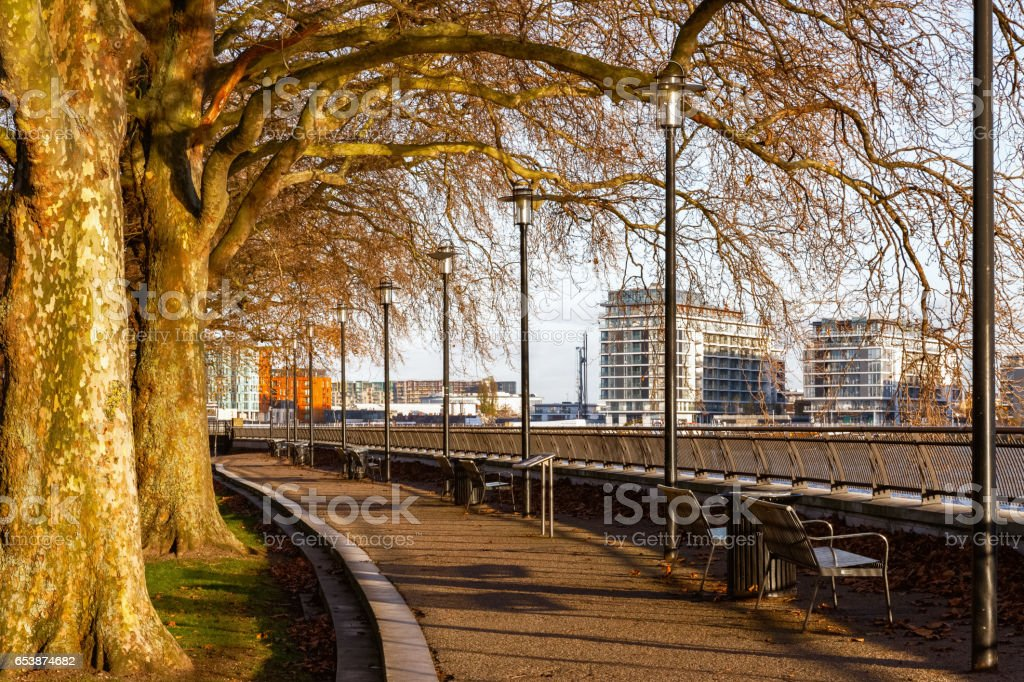 Thames Path at Island Gardens stock photo