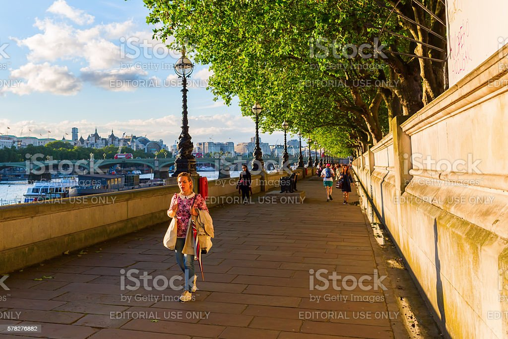 Thames promenade in London, UK stock photo