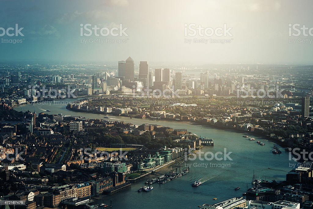 Thames River and Canary Wharf in London stock photo