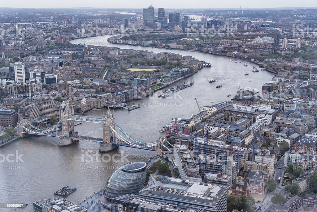 Thames river and Tower bridge stock photo