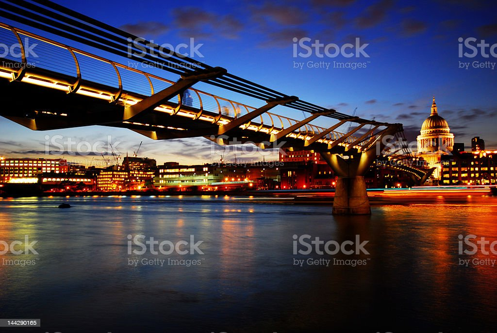 Thames River at night time royalty-free stock photo