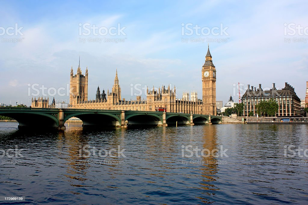 Thames River, Big Ben and Houses of Parliament, London royalty-free stock photo