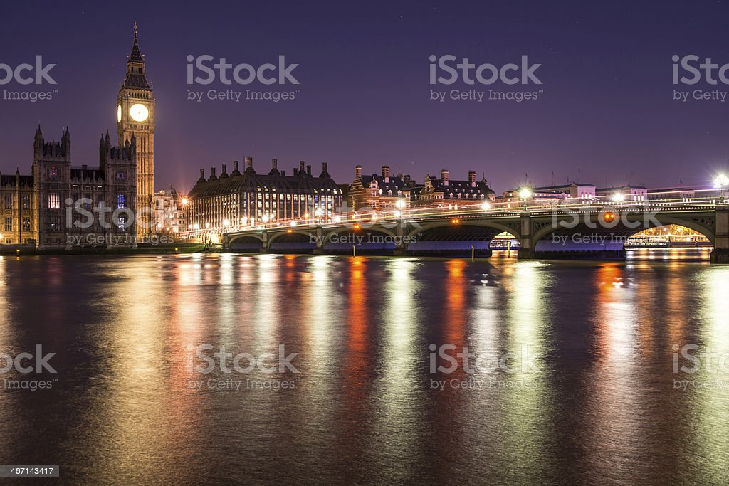 Thames River, Big Ben and Westminster bridge royalty-free stock photo