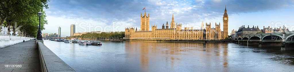 Thames River House of Parliament Sunrise Panorama royalty-free stock photo