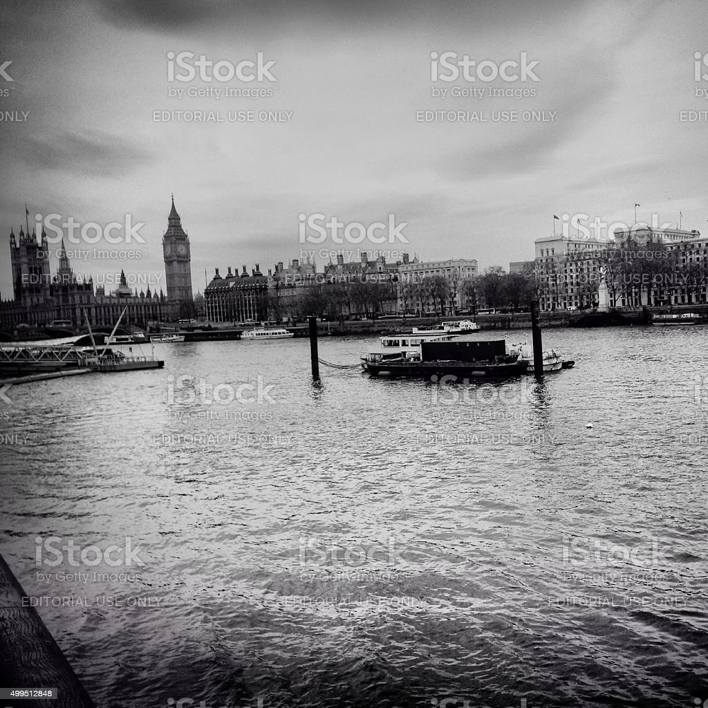 thames river in black and white stock photo