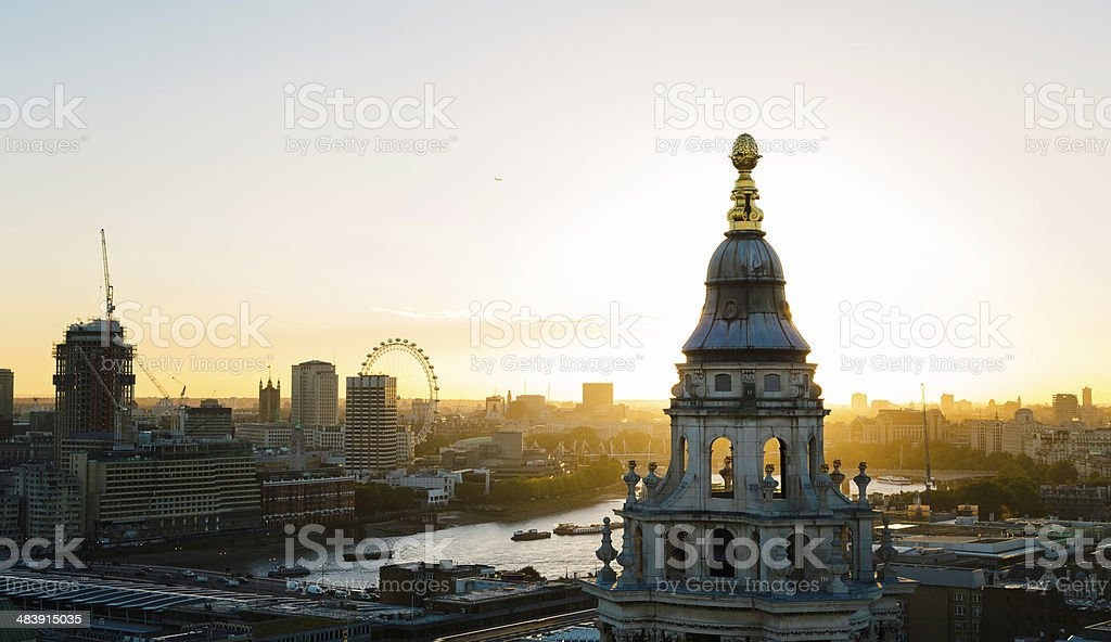 Thames River London skyline at sunset royalty-free stock photo