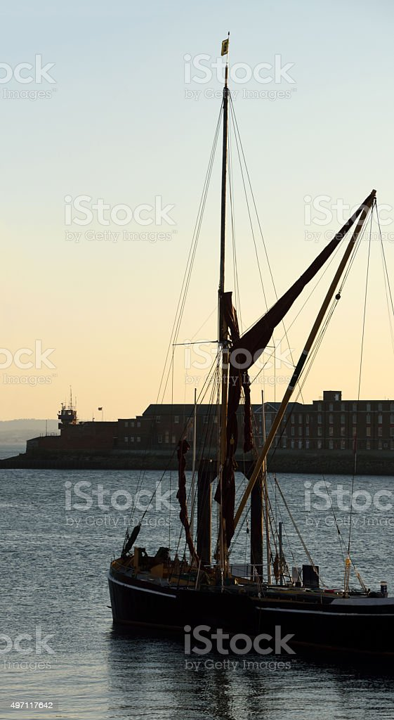 Thames Sailing Barge in Portsmouth Harbour stock photo