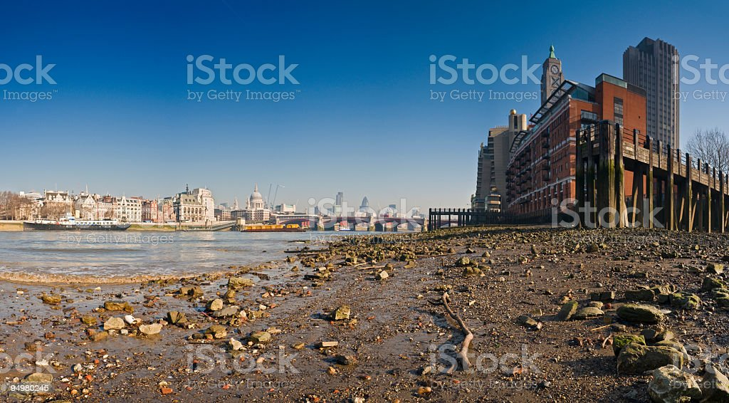 Thames shore London skyline royalty-free stock photo