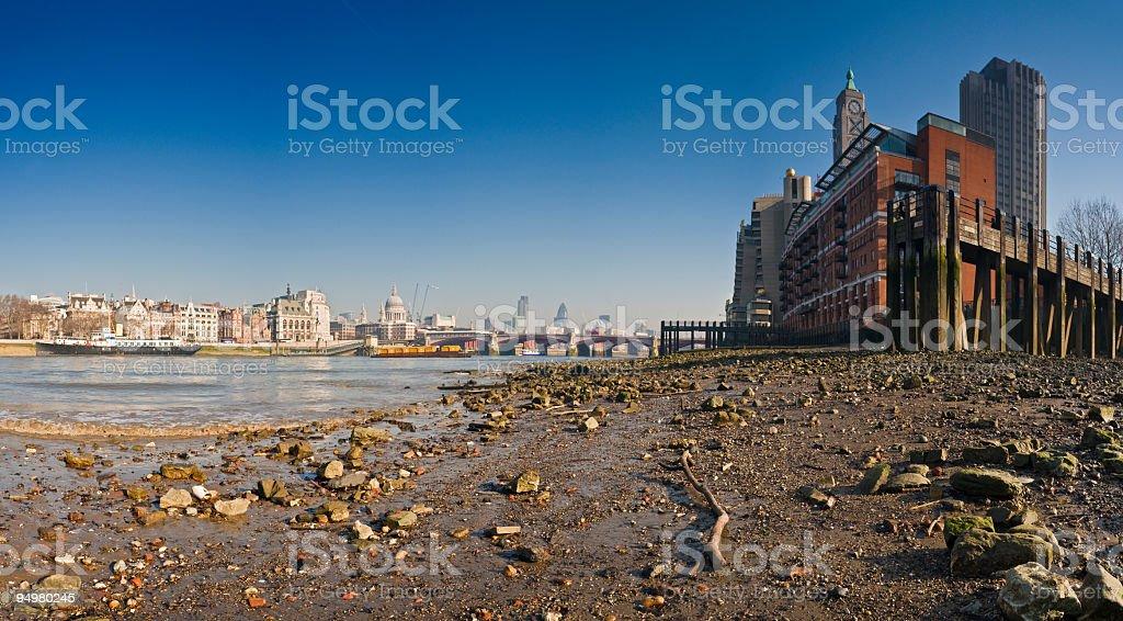 Thames shore London skyline stock photo