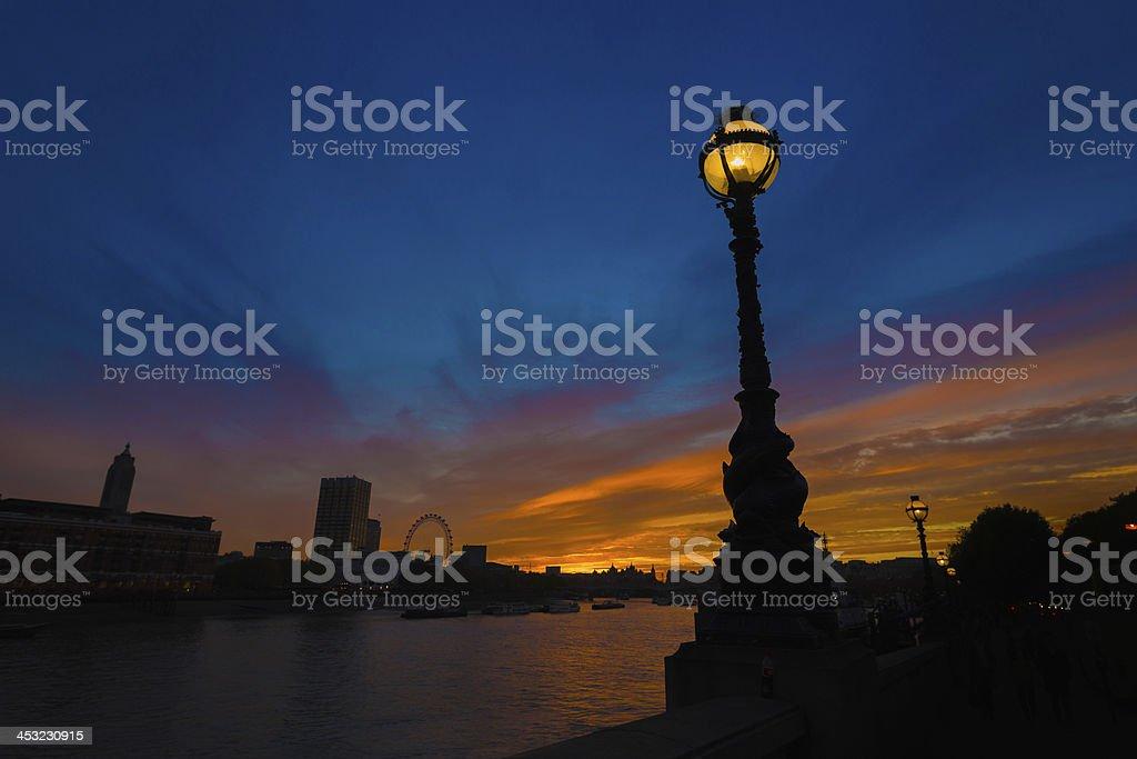 Thames sunset from Embankment. stock photo