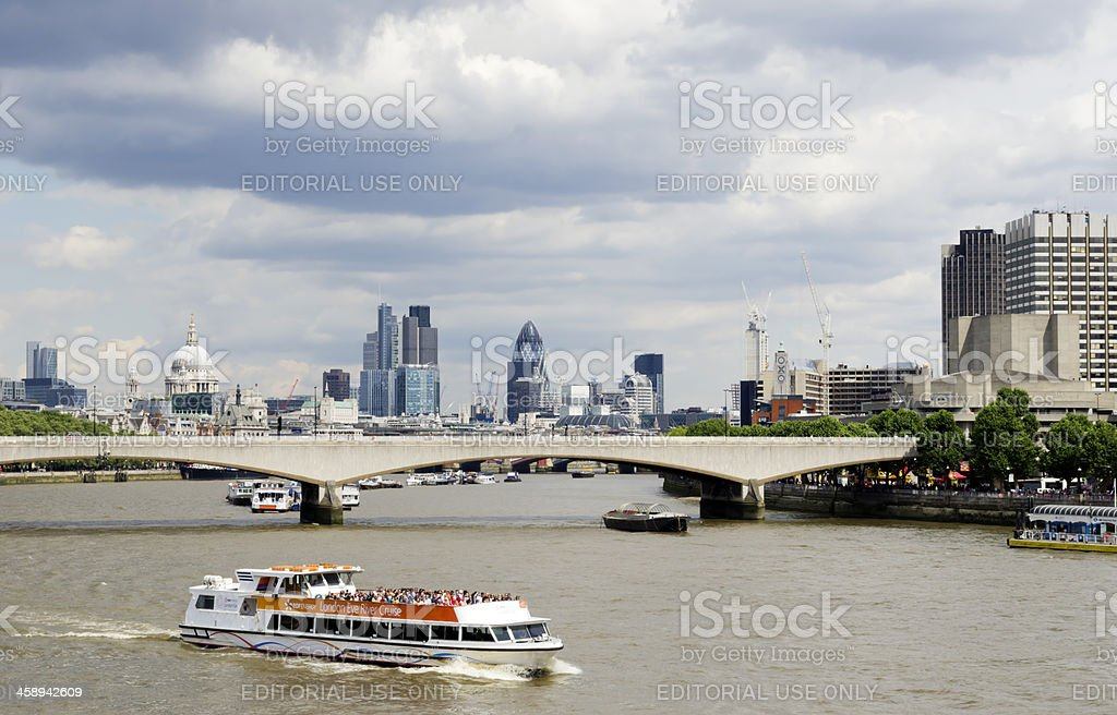 Thames view with tour boat stock photo