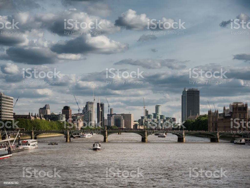 Thames with docklands and the Parliament stock photo