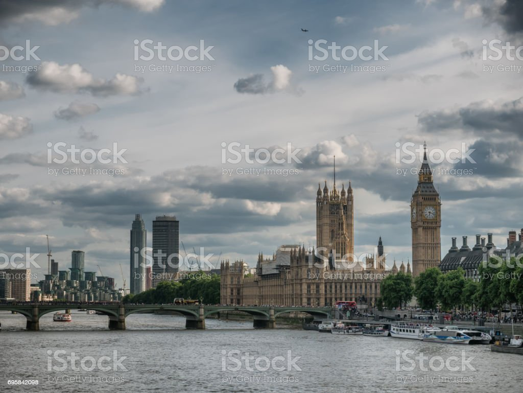 Thames with the Parliament, London stock photo